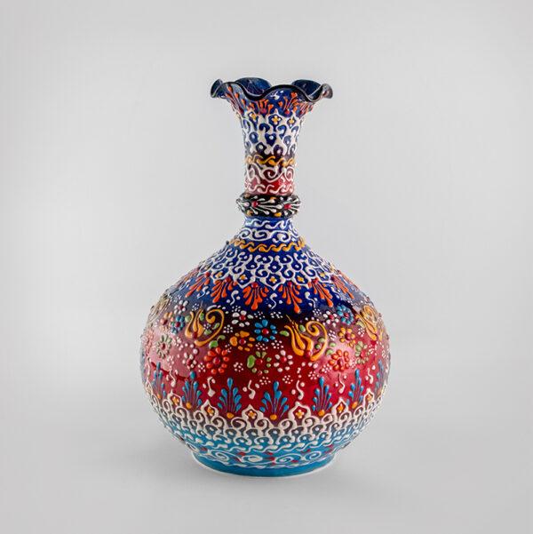 Chef Wan's Turkish Summer Anatolian Vase (25cm) (DARK RED+DARK BLUE+LIGHT BLUE)