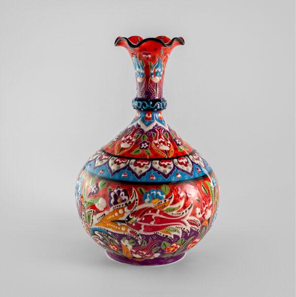 Chef Wan's Turkish Summer Anatolian Vase (25cm) (BRIGHT RED+BLUE)