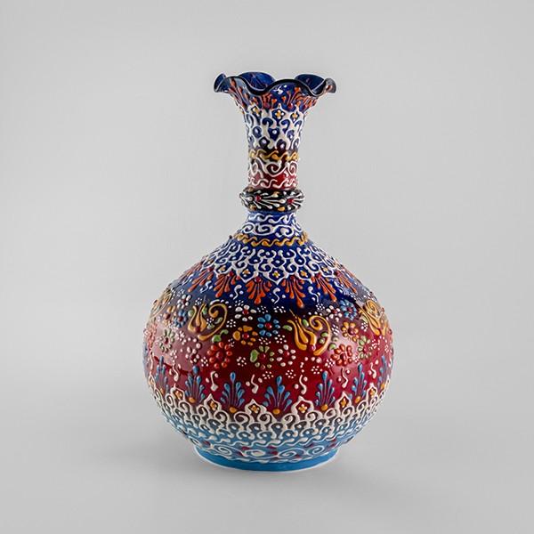 Chef Wan's Turkish Summer Anatolian Vase (25cm) (DARK RED+DARK BLUE)