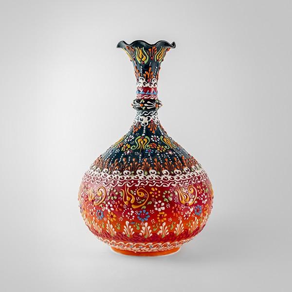 Chef Wan's Turkish Summer Anatolian Vase (30cm) (DARK RED+WHITE)