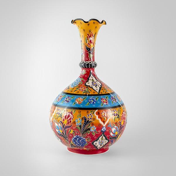 Chef Wan's Turkish Summer Anatolian Vase (30cm) (YELLOW + LIGHT BLUE)