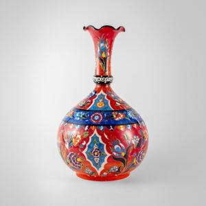 Chef Wan's Turkish Summer Anatolian Vase (30cm) (DARK RED+ DARK BLUE)