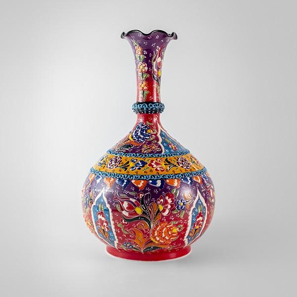 Chef Wan's Turkish Summer Anatolian Vase (30cm) (DARK PURPLE + DARK RED)