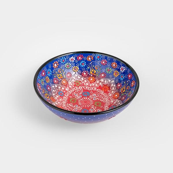 Chef Wan's Turkish Summer Decorative Bowl (20cm) (DARK BLUE + LIGHT RED)
