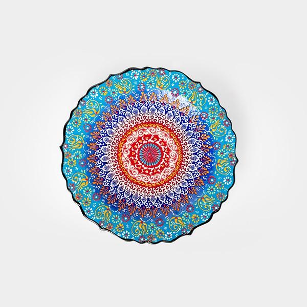 ChefWan'sTurkish Summer Artisanal Plates (30cm)(LIGHT BLUE + DARK YELLOW)