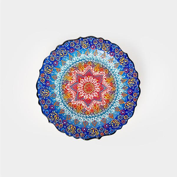 ChefWan'sTurkish Summer Artisanal Plates (30cm)(DARK BLUE + YELLOW)