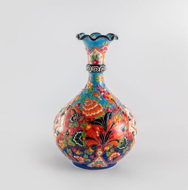 Chef Wan's Turkish Summer Anatolian Vase (25cm) (LBLUE-ORANGE-DRED)