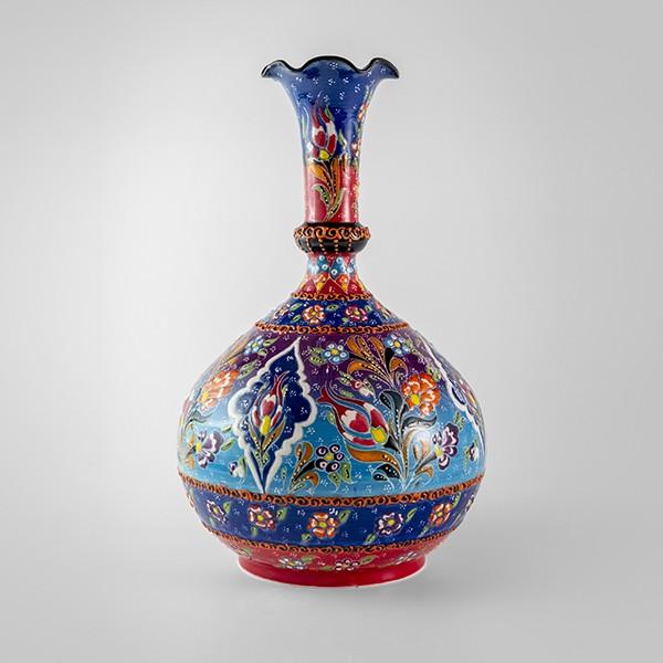 Chef Wan's Turkish Summer Anatolian Vase (30cm) (DBLUE-LBLUE-RED)