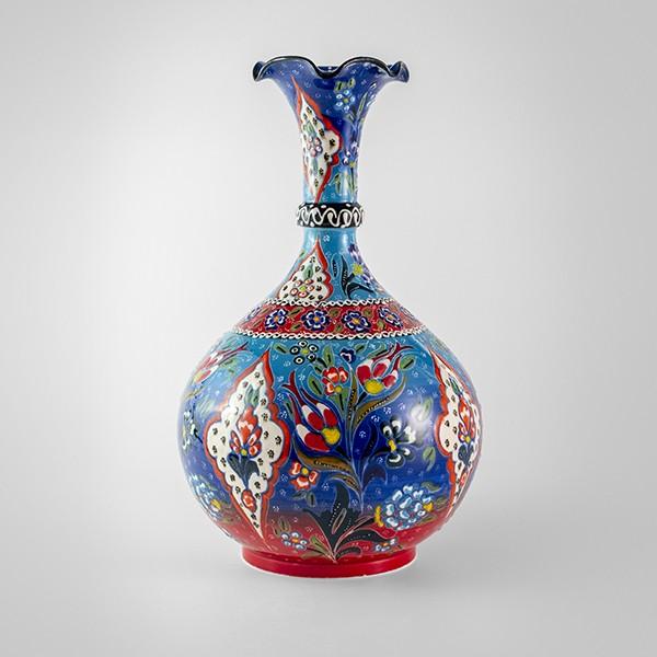 Chef Wan's Turkish Summer Anatolian Vase (30cm) (BLUE-WHITE-RED)