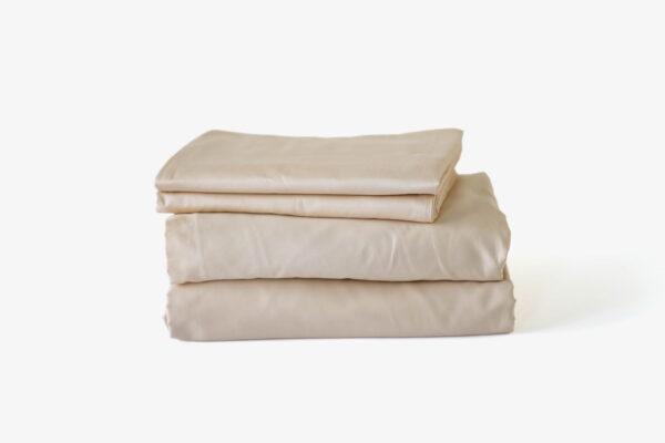 Duvet cover set: duvet cover + fitted bedsheet + pillowcase(s) - Creamy Biege