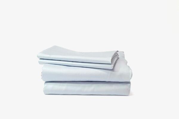 Duvet cover set: duvet cover + fitted bedsheet + pillowcase(s) - Misty Blue