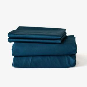 Duvet cover set: duvet cover + fitted bedsheet + pillowcase(s) - Navy Blue