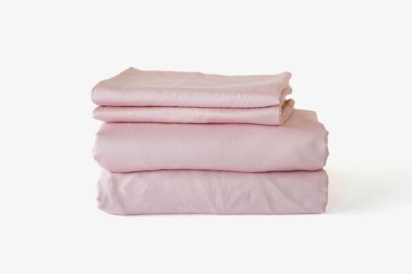 Duvet cover set: duvet cover + fitted bedsheet + pillowcase(s) - Blush Pink